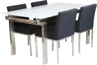 R & V Living Hanna Extension Dining Table White Matt Glass