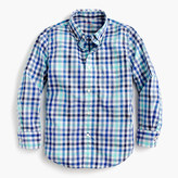 J.Crew Kids' Secret Wash shirt in multi blue check
