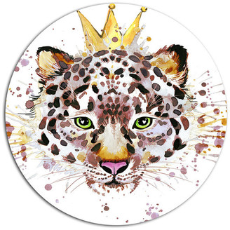 Design Art Usa Leopard Head With Golden Crown, Animal Art Disc Metal Wall Art, 23""