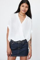 Silence & Noise Silence + Noise High/Low Surplice Tee Blouse