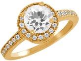 Gem Stone King 1.00 Ct Round Quartz Diamond 18K Yellow Gold Ring