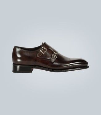Santoni Double monk-strap leather shoes