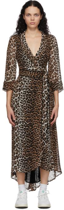 Ganni Beige and Black Leopard Georgette Long Dress