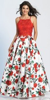 Dave and Johnny Two Piece Spaghetti Strap A-line Floral Pleated Prom Dress