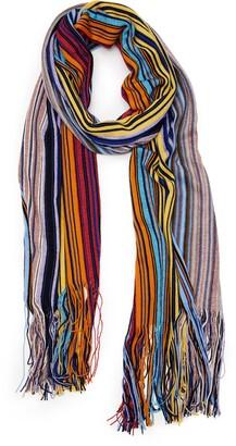 Missoni Metallic Stripe Wool Blend Scarf