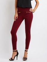 Charlotte Russe High-Rise Ponte Zipper-Trim Leggings