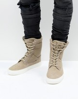 Asos Sneaker Boots In Stone With Chunky Sole