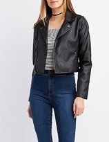 Charlotte Russe Printed Faux Leather Moto Jacket