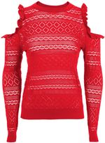 Topshop Pointelle Frill Cold Shoulder Knitted Top