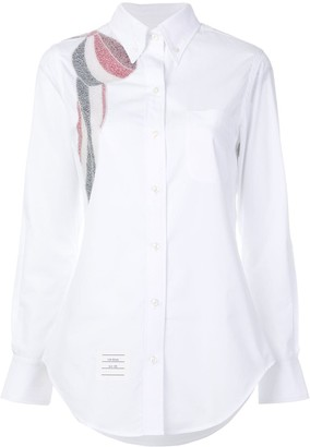 Thom Browne Beaded Bow Button-down Poplin Shirt