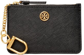 Tory Burch Robinson Leather Card Case with Key Chain