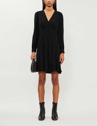 Whistles Button-up crepe mini dress