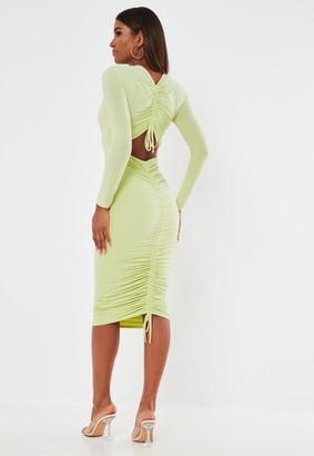 Missguided Mint Slinky Long Sleeve Ruched Bum Midaxi Dress
