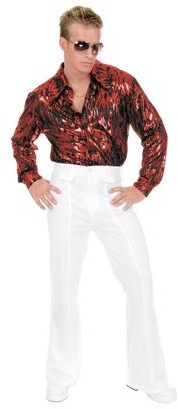 Charades Halloween Flame Hologram Disco Shirt - Red