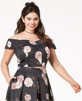 City Chic Trendy Plus Size Off-The-Shoulder Crop Top