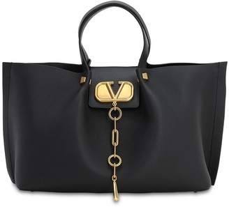 Valentino Garavani Md Vlogo Escape Grained Leather Tote Bag
