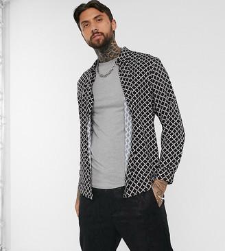 Bershka loose fit shirt with geometric print in black
