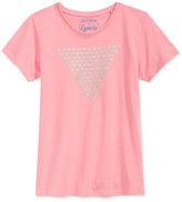 GUESS Glitter Triangle Hearts Graphic Cotton T-Shirt, Big Girls (7-16)