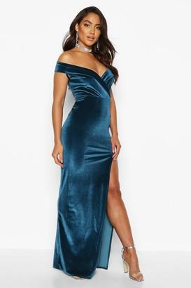 boohoo Velvet Off The Shoulder Maxi Dress