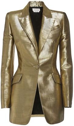 Alexander McQueen Moire Single Breast Blazer Jacket