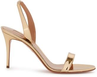 Aquazzura So Nude 105 gold leather sandals