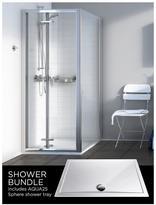 Aqualux Source Bi-fold Door, Side Panel, Aq25 Sphere Shower Tray 800 X 800mm