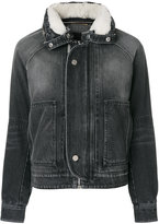 Saint Laurent fitted denim jacket - women - Cotton/Sheep Skin/Shearling/Polyester - S