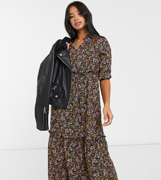Only Petite long sleeve smock midi dress in floral print