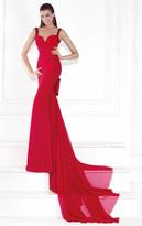 Tarik Ediz Bow Accented Panel Gown 92504