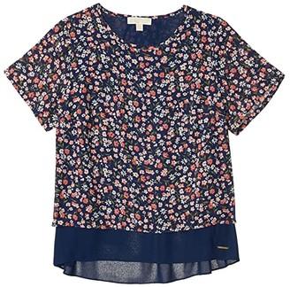 MICHAEL Michael Kors Size Garden Patch Short Sleeve Top (Coral Peach) Women's Clothing