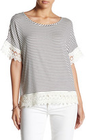 Bobeau Stripe Lace Trim Tee