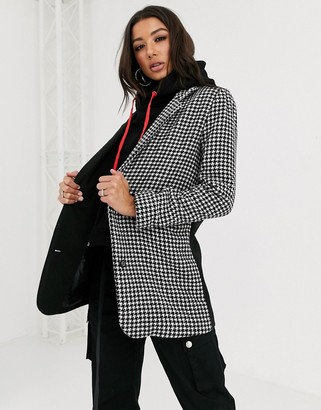 Couture The Club mixed check hooded crombie jacket in black Houndstooth