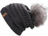 FURTALK Warm Chunky Soft Stretch Cable Knit Slouchy Beanie Real Fur Pom Pom Hat