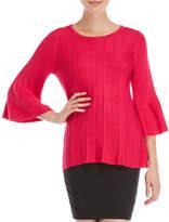 Rafaella Flounce Cuff Ribbed Sweater