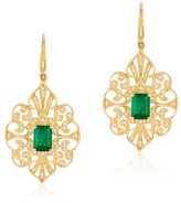 Effy Jewelry Effy Brasilica 14K Yellow Gold Emerald and Diamond Earrings, 2.18 TCW