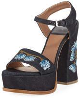 Laurence Dacade Perla Embroidered Denim Platform Sandal