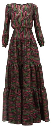 Saloni Isabel Rainbow-jacquard Silk-blend Dress - Womens - Black Multi