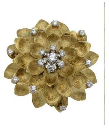 Cartier Vintage 18K Yellow Gold & Diamond Floral Brooch