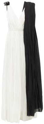 Vika Gazinskaya Draped Cotton-voile Maxi Dress - Womens - Black White