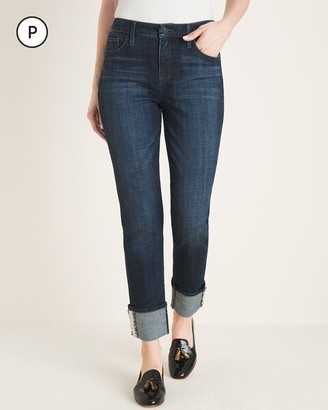 So Slimming Petite Tweed-Hem Girlfriend Ankle Jeans