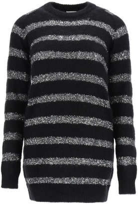 Saint Laurent MOHAIR MINI DRESS WITH SEQUINS M Black, Silver Wool