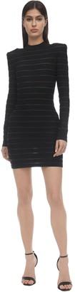 Balmain Stripe Knit Stretch Mini Dress