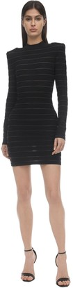 Balmain Stripe Knit Stretch Mini Dress