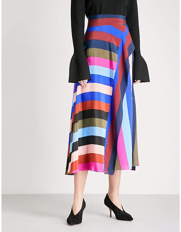 Diane von Furstenberg Striped silk-crepe de chine skirt