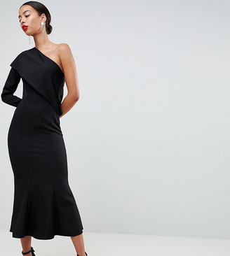 Asos Tall DESIGN Tall one shoulder fit and flare midi dress-Black