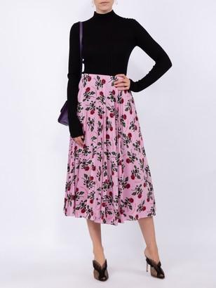 Valentino Floral Print Mid-length Skirt Pink