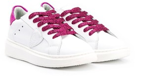 Philippe Model Kids Glitter Lace Contrast Heel Counter Leather Trainers