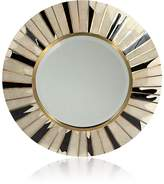 R & Y Augousti Sunburst Sunlight Shagreen & Pen Shell Small Round Wall Mirror