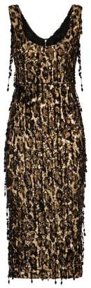 Dolce & Gabbana Leopard Sequin Sheath Dress