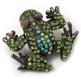 Avalaya Small Diamante Frog Brooch In Gun Metal Finish - 3cm Length